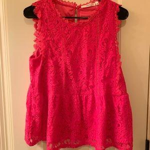 NWT hot pink lace peplum blouse medium